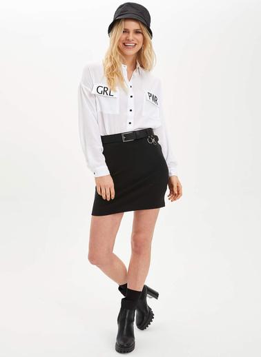 DeFacto Çift Cepki Dokuma Gömlek Beyaz